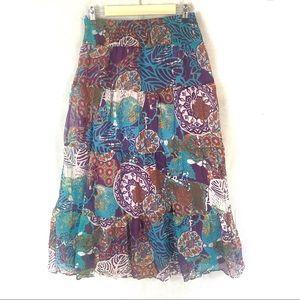 Ya da silk floral maxi long ankle skirt